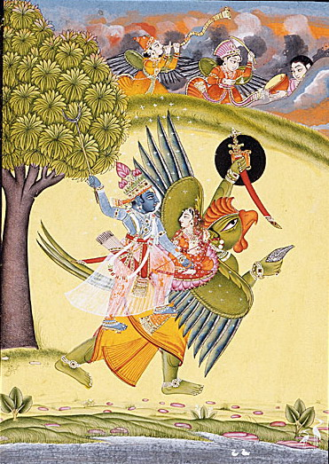 Garuda with Lord Vishnu and Laxmi
